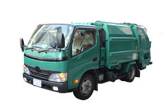 Green garbage truck. Stock Images