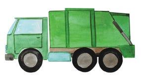 Green garbage truck, illustration. royalty free illustration