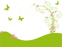 Green garden with butterflies. On white background Royalty Free Stock Images
