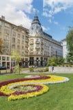 Green garden with flowers near Tsar Osvoboditel Boulevard  in the center of Sofia,Bulgaria Royalty Free Stock Image