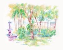 Green garden with fountain illustration Royalty Free Stock Photos
