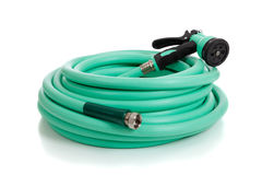 Green Garden Hose with Sprayer Stock Photography