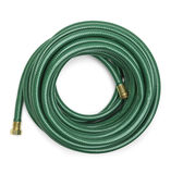 Green Garden Hose. Top View of a Green Garden Hose  on a White Background Stock Images