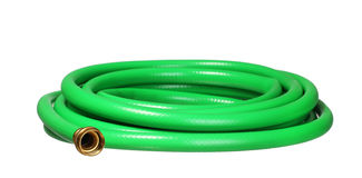 Green garden hosepipe isolated on white Royalty Free Stock Photo
