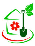 Green garden icon with house, flower and shovel Stock Photo