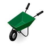 Green garden isometric wheelbarrow  on white Royalty Free Stock Photography