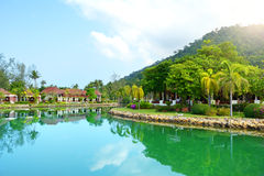 Green garden with lake. Klong Prao, Koh Chang Stock Photos
