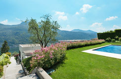 Green garden with pool Royalty Free Stock Photo