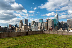 Green Garden Rooftop with View of NYC Skyline Royalty Free Stock Photos