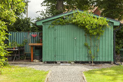 Green garden shed Royalty Free Stock Images