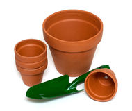 Green garden showel and ceramic pots Stock Photography