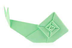 Green garden snail of origami Stock Images