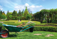 Green garden in spring. Wheelbarrow and beautiful green garden Royalty Free Stock Photos