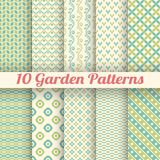 10 Green garden vector seamless patterns. Abstract. Texture can be used for printing onto fabric and paper or scrap booking. Green and blue pastel shabby colors stock illustration