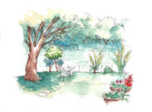 Green garden water colour illustration Royalty Free Stock Photo