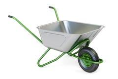 Green garden wheelbarrow, 3D rendering Stock Photo