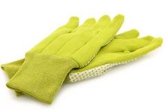 Green Gardening Gloves over White Stock Photography