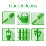 Green gardening icons set over a white background Stock Images
