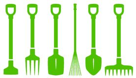 Green gardening tools set Royalty Free Stock Image