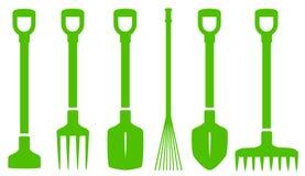 Green gardening tools set Royalty Free Stock Image