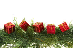 Green Garland with Gifts. Green tree garland with red gifts isolated on white Royalty Free Stock Photos