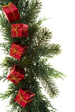 Green Garland with Presents. Green tree garland with presents isolated on white Royalty Free Stock Image