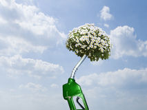 Green gas pump with blooming plant at end of nozzle Stock Photography