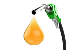 Green gas pump nozzle with droplet of oil. 3d rendering green gas pump nozzle with droplet of oil Royalty Free Stock Photos