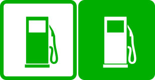 Green gas station icons. Two simple green gas station icons Stock Photo