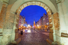The Green Gate at night in Gdansk Royalty Free Stock Photo