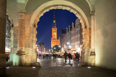 Green gate view for city hall of Gdansk at night Stock Photography