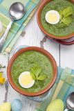 Green Gazpacho Soup With Eggs stock images