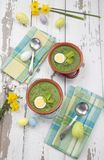 Green Gazpacho Soup With Eggs stock photography