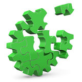 Green Gear. Green puzzle gear wheel on the white background Stock Image