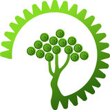 Green gear tree. Illustration art of a green gear tree with isolated background Royalty Free Stock Photo