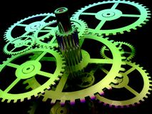 Green gears. A bunch of green gears on a black background Stock Photos
