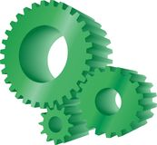 Green gears. Set of three green working gears Stock Photos