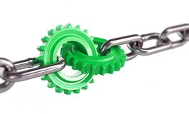 Green gears chain links. On a white background Royalty Free Stock Photo