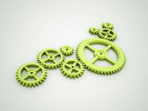 Green gears concept. Rendered on dark background Royalty Free Stock Photos