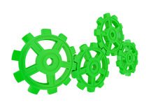 Green gears isolated on white background. Teamwork concept. 3d rendered Stock Photo