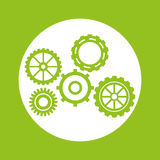 Green gears object design. Gears object icon. Machine part technology industry and wheel theme. Green design. Vector illustration Royalty Free Stock Photo