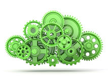 Green gears. On white  background. 3d Stock Images