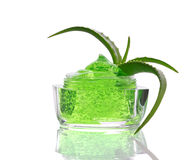 Green gel and aloe Stock Photos