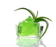 Green gel and aloe Stock Photos