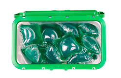 Green gel laundry capsules Royalty Free Stock Photo