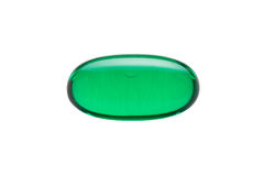 Green Gelatin Capsule Isolated on White Royalty Free Stock Images