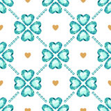 Green gemstones lucky clover seamless pattern Stock Photography