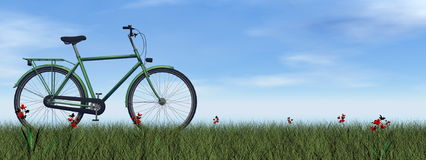 Green gentle bicycle - 3D render. Green gentle bicycle on the grass with flowers by day - 3D render royalty free illustration