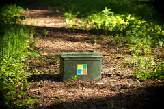Green Geocaching container. A green Geocaching ammo container in the forest Stock Photography