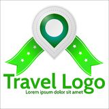 Green geolocation marker emblem for travel. Gray geolocation marker with green elements and green ribbons with stars and with words Travel Logo. Isolated Vector Illustration